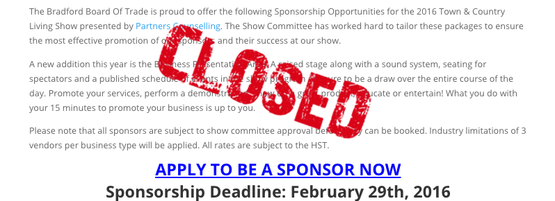 Sponsorship Opportunity Now Closed